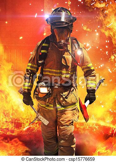 Los bomberos buscan posibles armas - csp15776659