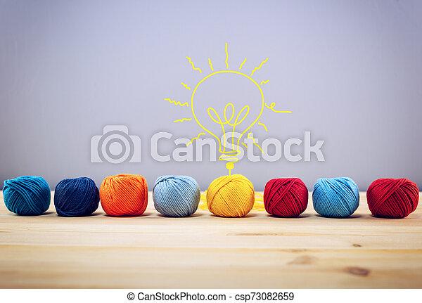 Concepto de idea e innovación con bola de lana que da forma a una bombilla - csp73082659