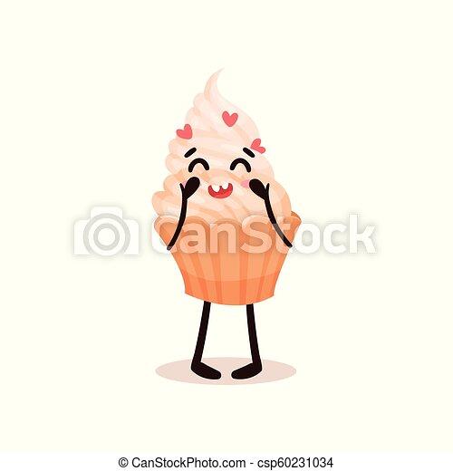 Bonita magdalena con cara graciosa, caricatura humanizada de postre vector de caracter de personaje ilustración en un fondo blanco - csp60231034