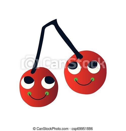 Bonitas cerezas maduras, divertidos personajes de dibujos animados con caras graciosas ilustraciones vectoriales - csp69951886
