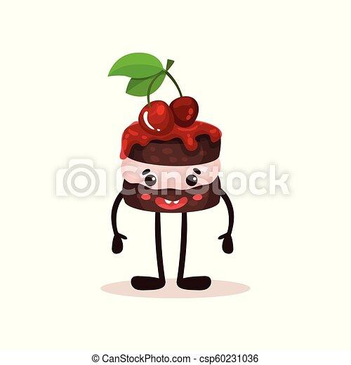 Bonito pastel con cerezas y cara graciosa, caricatura humanizada de caricatura de caricatura de postre vector de ilustración en un fondo blanco - csp60231036