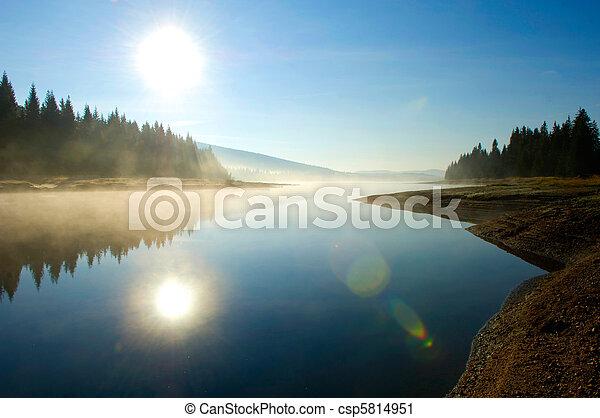 Lago en el bosque profundo - csp5814951