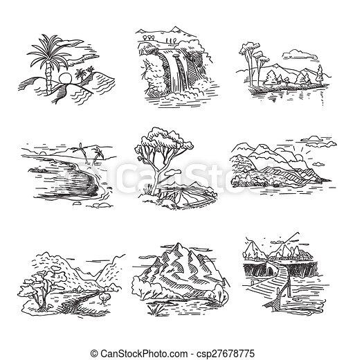 Dibujo a mano borrado de dibujos de dibujos de naturaleza paisaje ilustrado con cascada de bosques de Sun Hills - csp27678775