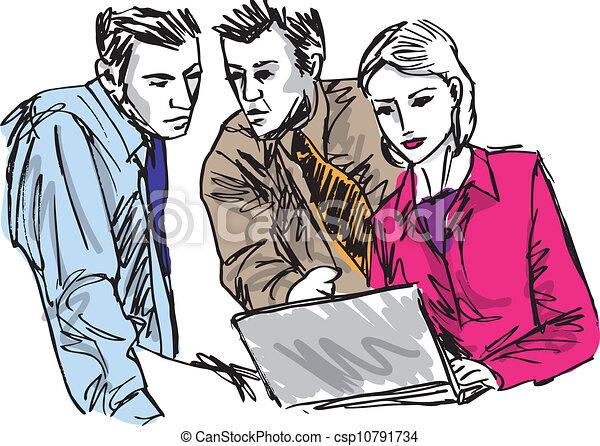 Esquela de exitosos empresarios que trabajan con portátiles en la oficina. Ilustración del vector - csp10791734