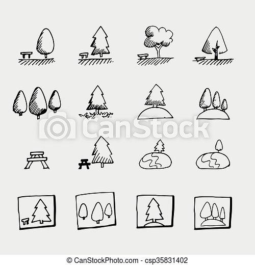 El icono del parque Sketch - csp35831402