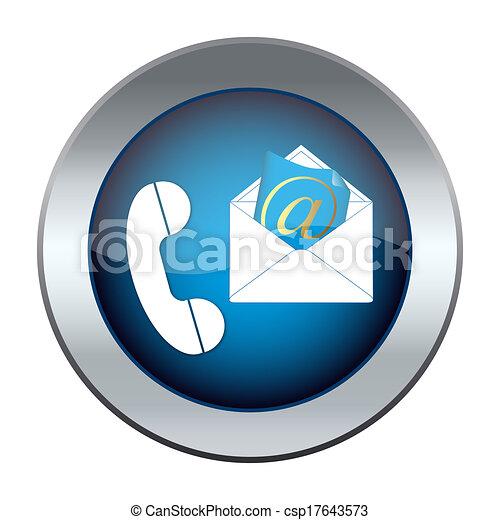 Botón con el teléfono y el correo electrónico - csp17643573