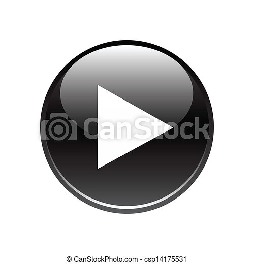 Botón de jugada negra en blanco - csp14175531