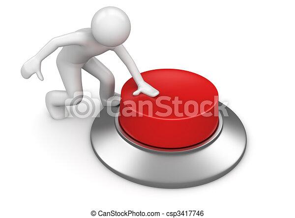 El hombre presiona el botón de emergencia rojo - csp3417746