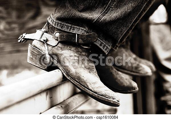 Botas vaqueros de rodeo y espuelas (BW) - csp1610084