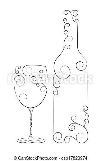 Botella de vino y vidrio - csp17823974