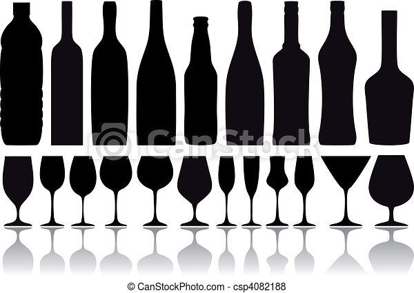 Botellas de vino y vasos, vector - csp4082188
