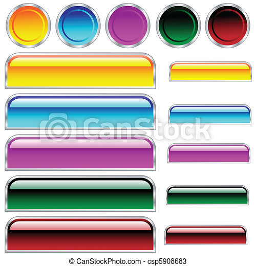 Botones, escamas y redondo rectángulos y círculos en diferentes colores - csp5908683