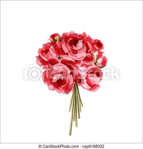 Bouquet de peonías rojas y rosas - csp9168332