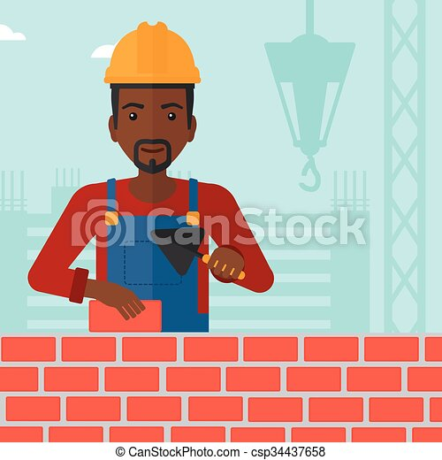 Bricklayer con espátula y ladrillo. - csp34437658