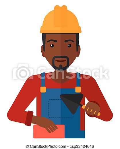 Bricklayer con espátula y ladrillo. - csp33424646