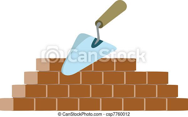 Bricklayer y vector de truchas - csp7760012