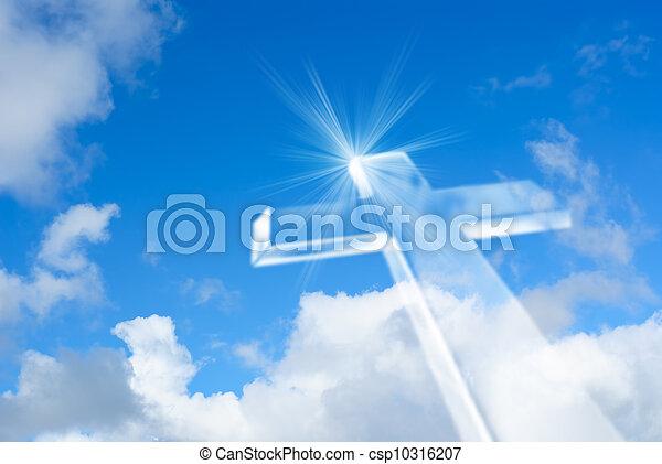 Transportando una cruz blanca brillante en el cielo - csp10316207