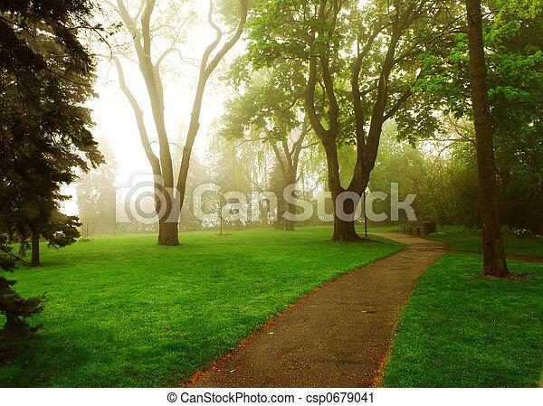 Foggy Park - csp0679041