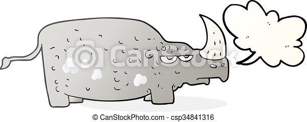 Rhino de dibujos animados de burbujas - csp34841316