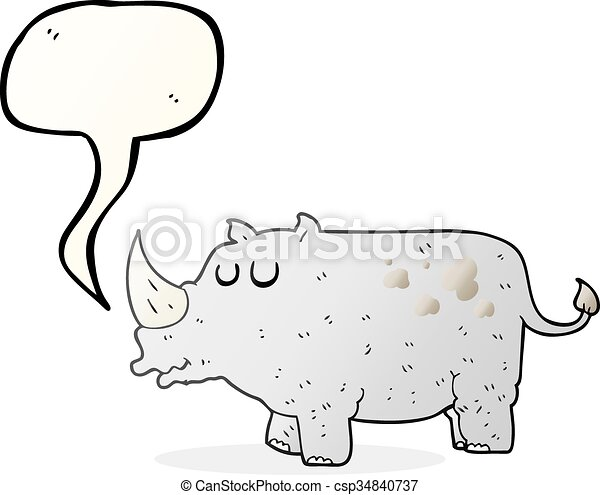 Rhino de dibujos animados de burbujas - csp34840737