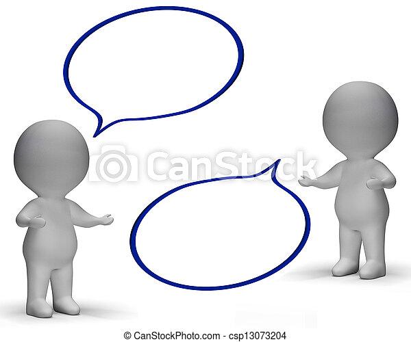 Burbujas de habla y tres personajes muestran discusión y chismes - csp13073204