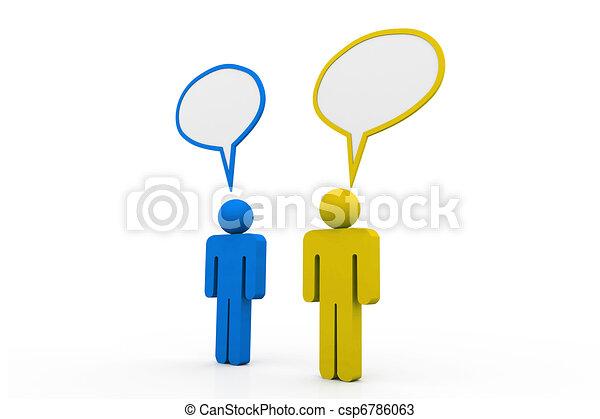 Dos personas hablan en burbujas de habla - csp6786063