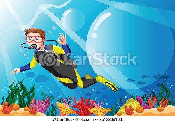 Buzo de buceo en el océano - csp12269163