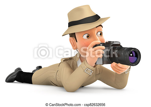 cámara, abajo, 3d, acostado, detective - csp82632656