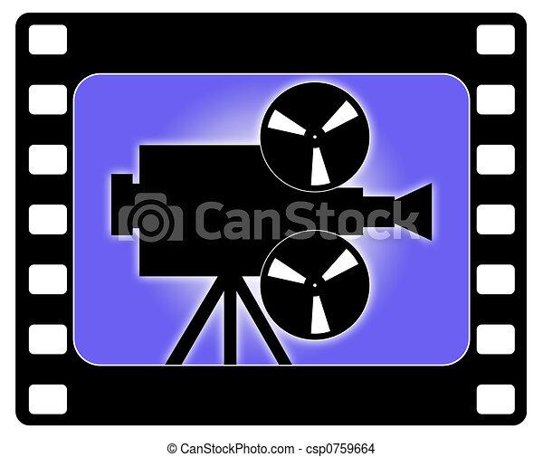 Cámara y cine trabajando - csp0759664