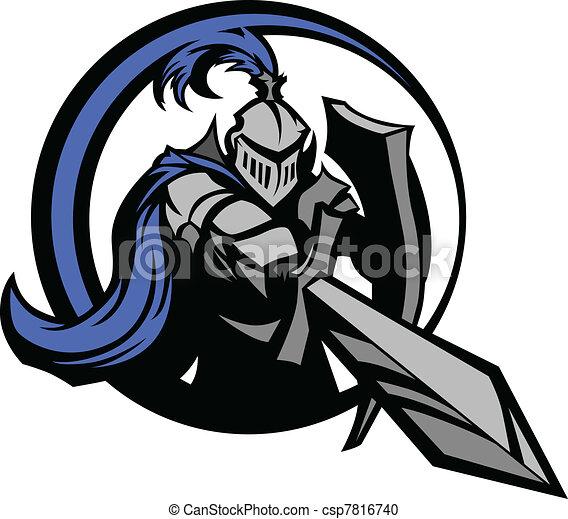 Caballero medieval con espada y espinilla - csp7816740