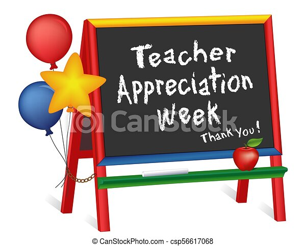 Semana de apreciación de profesores, estrellas y globos, caballete de pizarra para niños - csp56617068