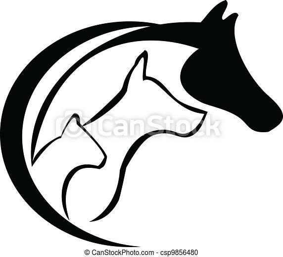 Caballo, gato y perro - csp9856480