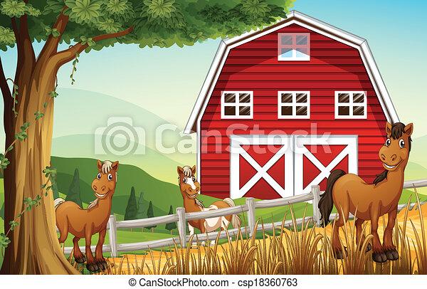 Caballos en la granja cerca de la casa roja - csp18360763