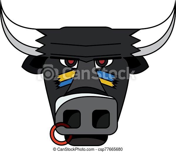 cabeza, vector, illustration., toro, negro - csp77665680