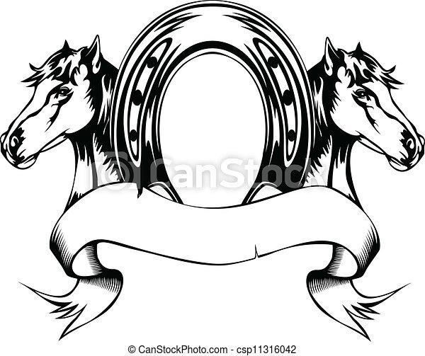 Cabezas de caballo y zapatos de caballo - csp11316042