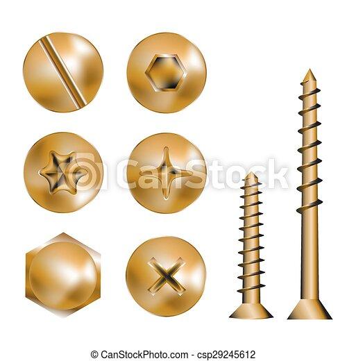 Cabezas de tornillo de oro - csp29245612