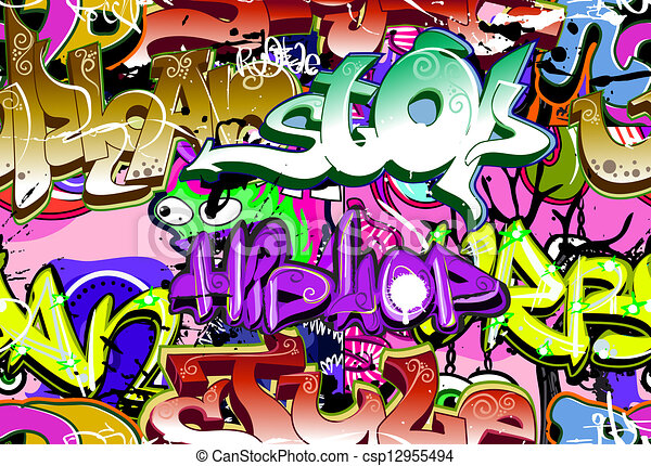 La pared de graffiti. Vectores urbanos. Estiércol de hip hop inservible - csp12955494