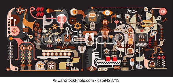 Ilustración vectorial de la fábrica de café - csp9423713