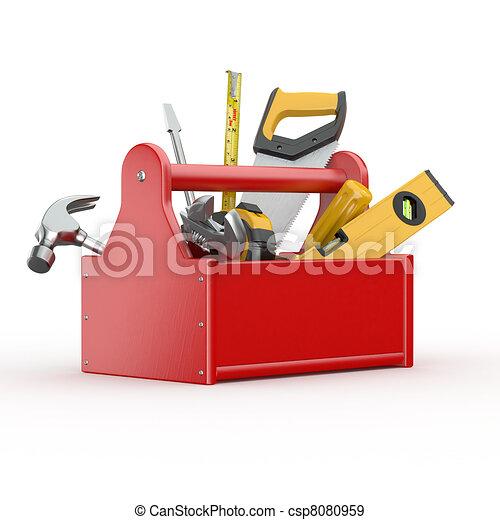 Caja de herramientas. Skrewdriver, martillo, sierra y llave - csp8080959