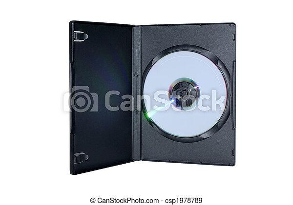 Una caja negra con un disco de DVD escrito en el interior, aislado en un fondo blanco. - csp1978789