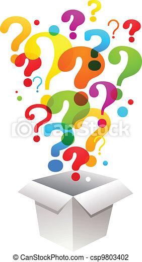 Caja con signos de interrogación - csp9803402