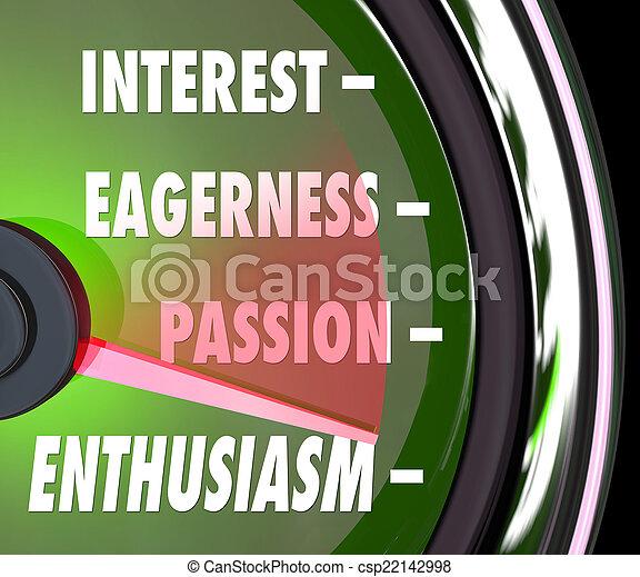 Calibre de nivel de interés del entusiasmo, velocímetro de pasión - csp22142998