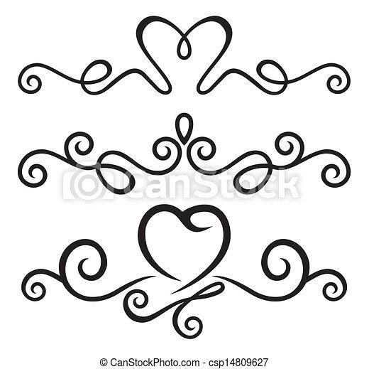 Elementos florales calígraficos - csp14809627