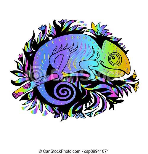 camaleón, arco irirs, garabato, estilo, dibujado, mano, illuminating., amarillo - csp89941071