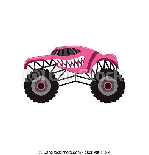 camión gigantesco, asustadizo, rosa, caricatura, dientes animales, diseño - csp89801129