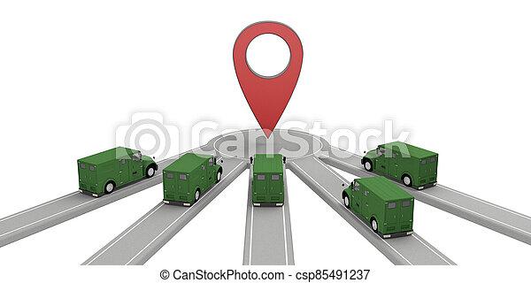 camión, grupo, dinero, punto, paseos - csp85491237