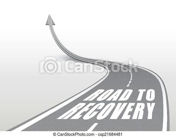 Camino a la recuperación palabras en carretera de carretera - csp21684481