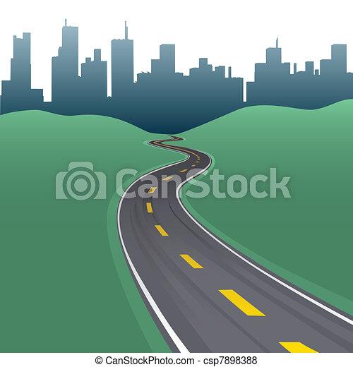 Camino de la carretera, edificios de ciudad en línea - csp7898388