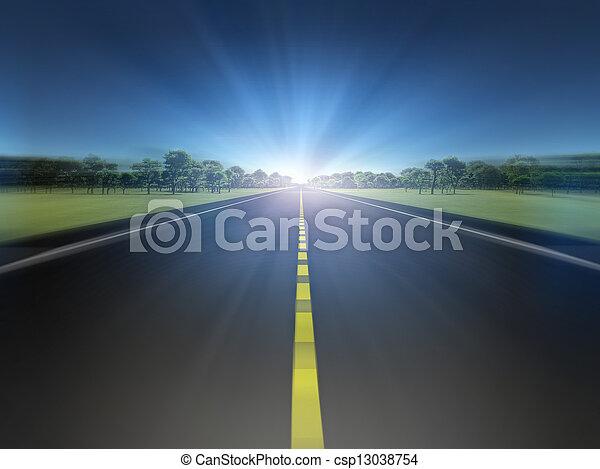 Camino en paisaje verde moviéndose hacia la luz - csp13038754