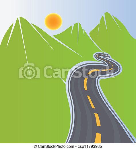 Camino y montañas verdes - csp11793985